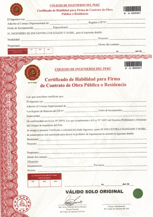 Formato Certificado De Habilidad Colegio De Ingenieros Del Peru